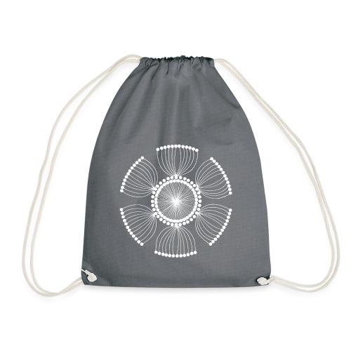 White Poppy Seed Mandala II - Drawstring Bag