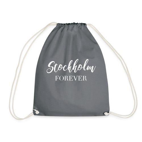 stockholm print white 01 - Gymnastikpåse