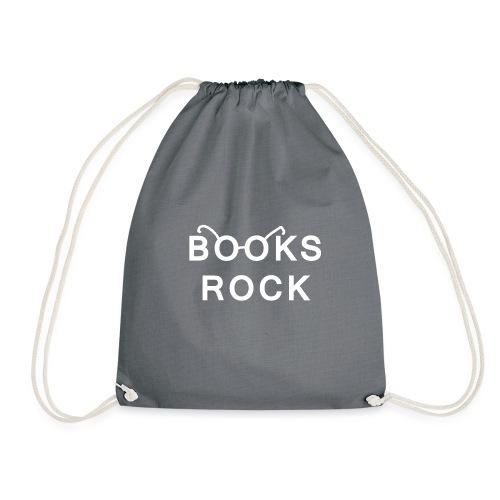 Books Rock White - Drawstring Bag