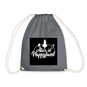 Alice in Nappyland TypographyWhite 1080 - Drawstring Bag