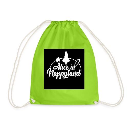 Alice in Nappyland TypographyWhite 1080 - Drawstring Bag
