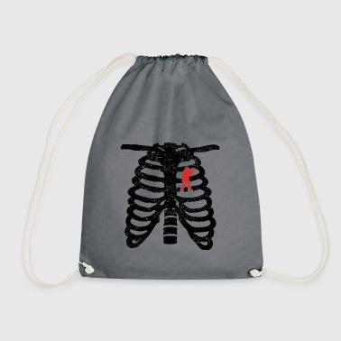 Heart skeleton heart love paintball softair gift - Drawstring Bag