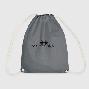 Heartbeat cycling race T-shirt gift sport - Drawstring Bag