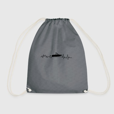 Heartbeat Motorboat Gift T-Shirt Water Sports - Drawstring Bag