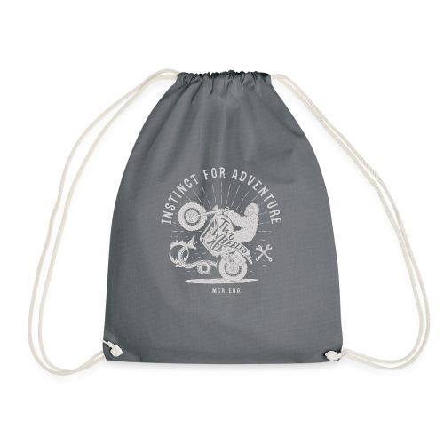 Two Wheeled Ape Wheelie Biker T shirt White - Drawstring Bag