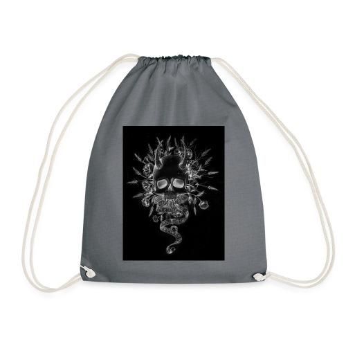 artworkSkull and flowers tshirt print negative - Drawstring Bag