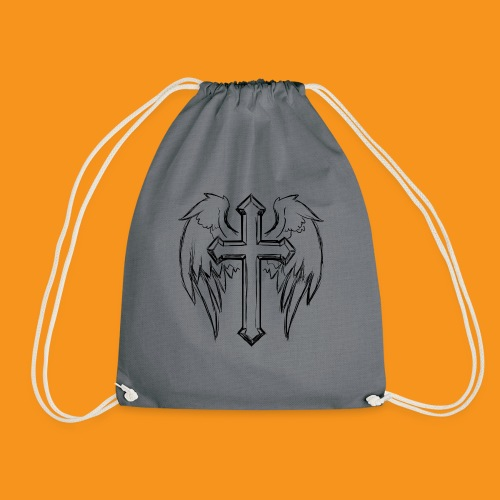 winged cross - Drawstring Bag