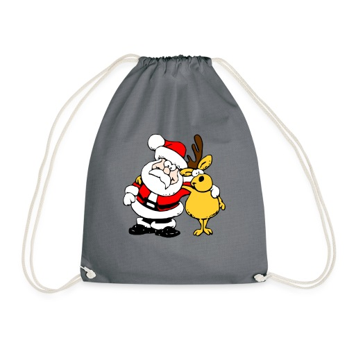 Santa and Reindeer - Drawstring Bag