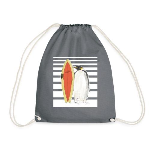 Pinguin mit Surfboard (Streifen) - Turnbeutel