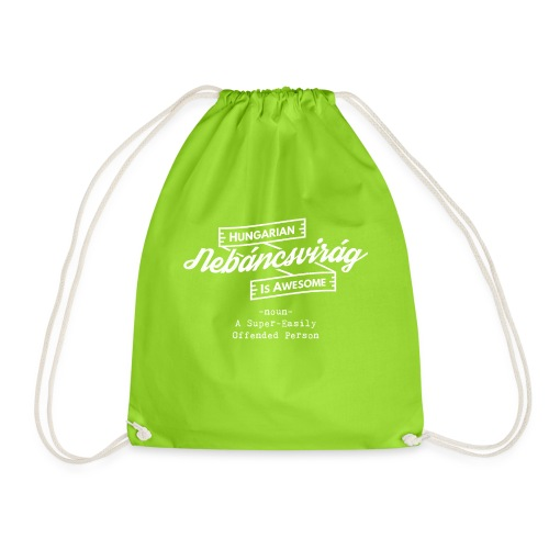 Nebáncsvirág - Hungarian is Awesome (white fonts) - Drawstring Bag