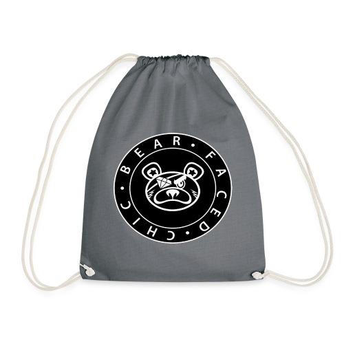 Bear Faced Chic Black and White Logo Varient - Drawstring Bag