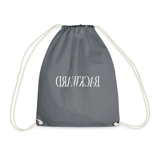backward white - Drawstring Bag