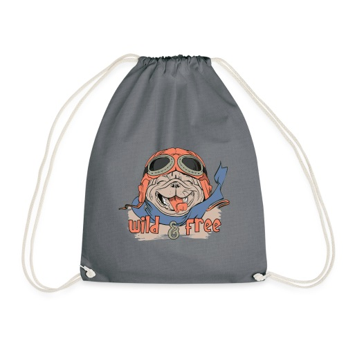 Wild & Free: Happy Pug Flier Freedom - Drawstring Bag
