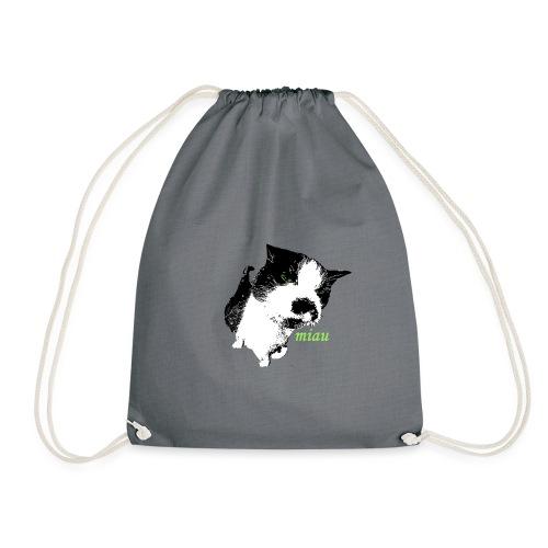 Katze - miau - schwarz-weiße Katze - Turnbeutel