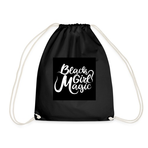 Black Girl Magic 1 White Text - Drawstring Bag