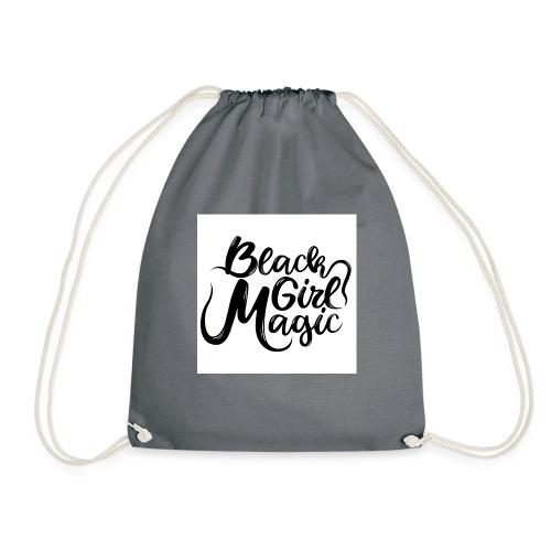 Black Girl Magic 1 Black Text - Drawstring Bag