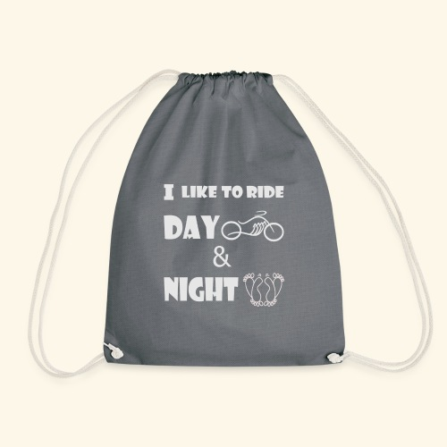 Ride day and night,moto le jour,amour la nuit - Drawstring Bag