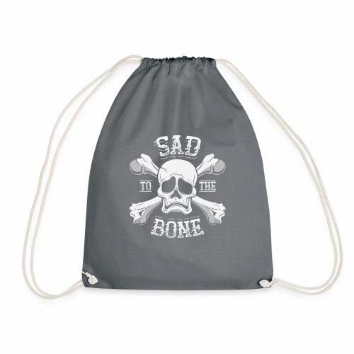 Sad To The Bone Funny Sad Skull Face And Crossbone - Drawstring Bag