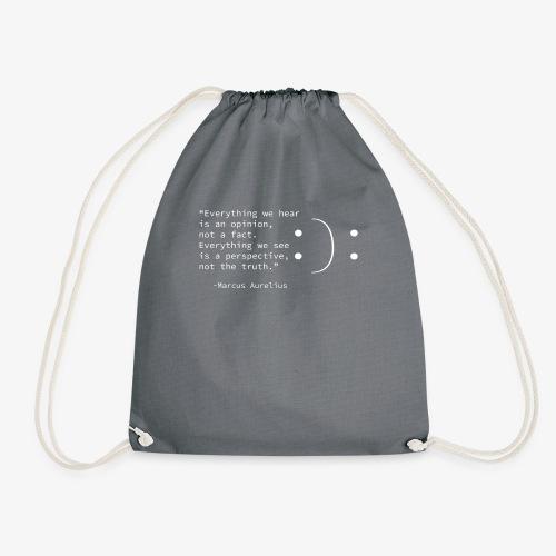 Stoic quote by Marcus Aurelius,Illusion, Point of - Drawstring Bag