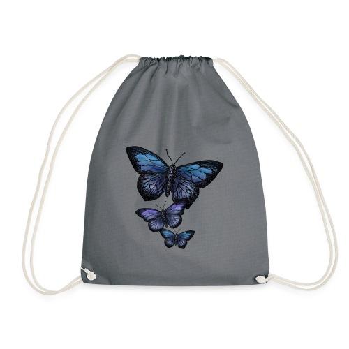 Schmetterling Tier Vintage Fliegen Blumen Retro - Turnbeutel