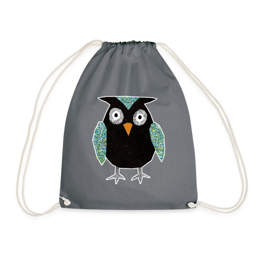 Collage mosaic owl - Drawstring Bag