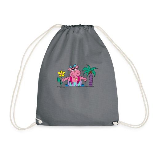 lustiges Nilpferd Sonnenblume Palme Hippo - Drawstring Bag