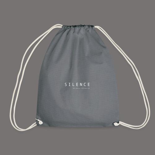 Silence text and corp neg 01 - Drawstring Bag
