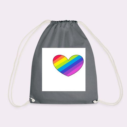 rainbow heart - Drawstring Bag