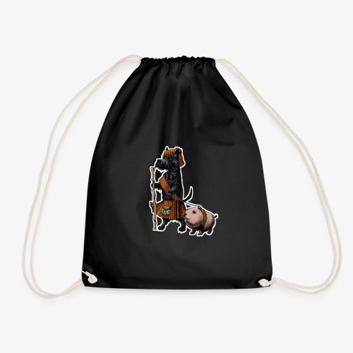 Scottie and Haggis dark t - Drawstring Bag