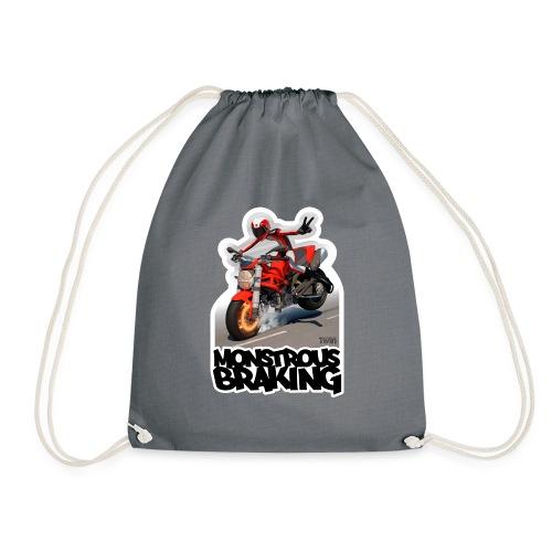Ducati Monster, a motorcycle stoppie. - Mochila saco