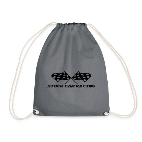 Stock Car Racing chequered flag, black - Drawstring Bag