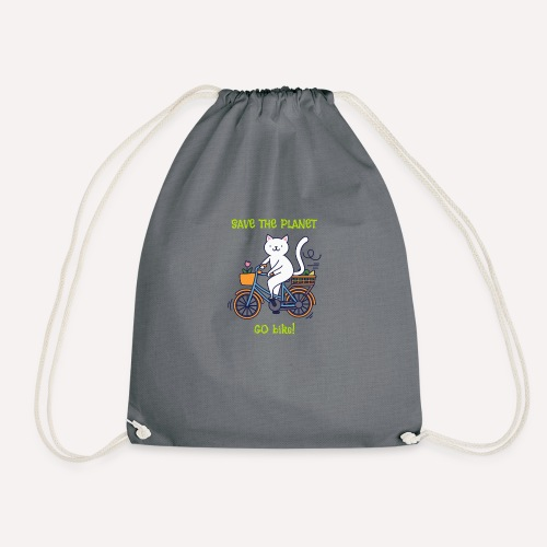 Caring About Climate? Save The Planet Go Bike! - Drawstring Bag