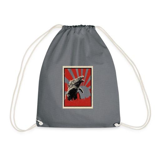 GodZilla red sun rays flare vintage movie poster - Drawstring Bag