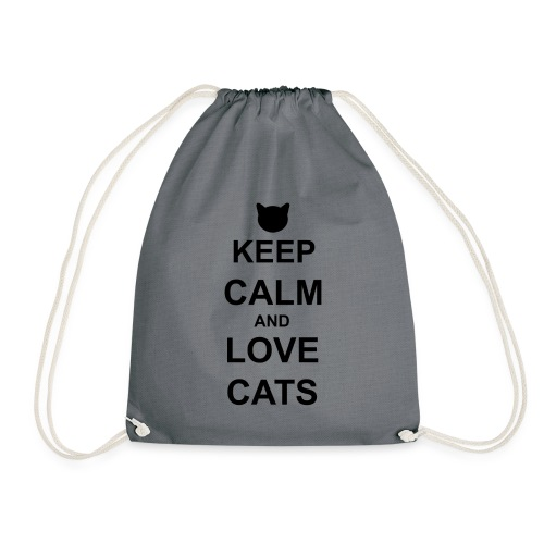 Keep Calm and Love Cats - Black - Drawstring Bag