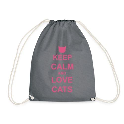 Keep Calm and Love Cats - Pink - Drawstring Bag