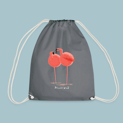 Rollin' Wild - Flamingos - Drawstring Bag