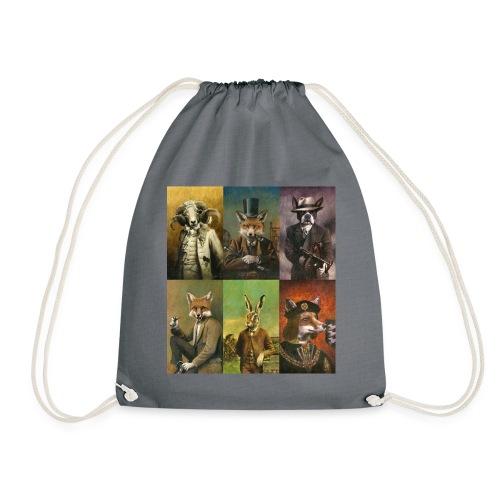 Vintage Animals In Clothes - Drawstring Bag