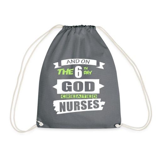 God Created Nurses - Drawstring Bag