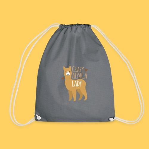 Crazy alpaca lady with love hearts - Drawstring Bag