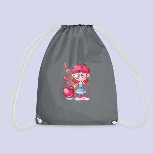 Funny and lovely girl cartoon design - Drawstring Bag