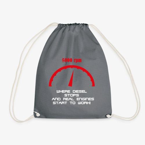 Benziner gegen Diesel, Drehzahlmesser, 5000 U/min - Turnbeutel