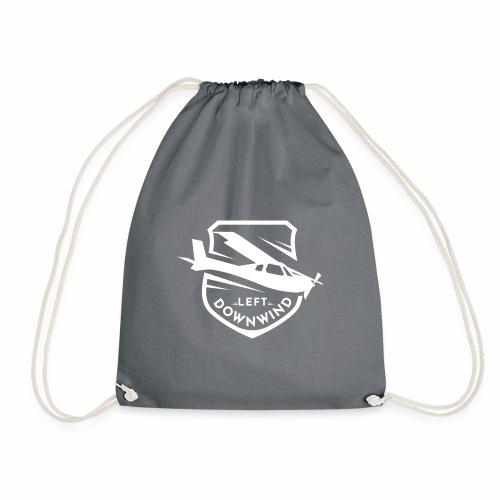 Left Downwind badge logo white - Drawstring Bag