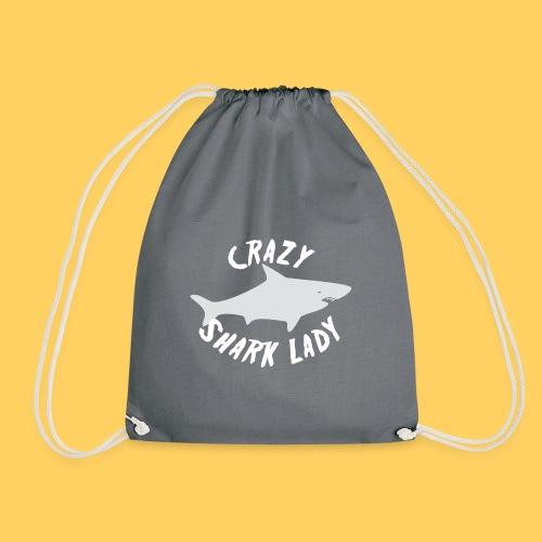 Crazy shark lady GREY NURSE shark - Drawstring Bag
