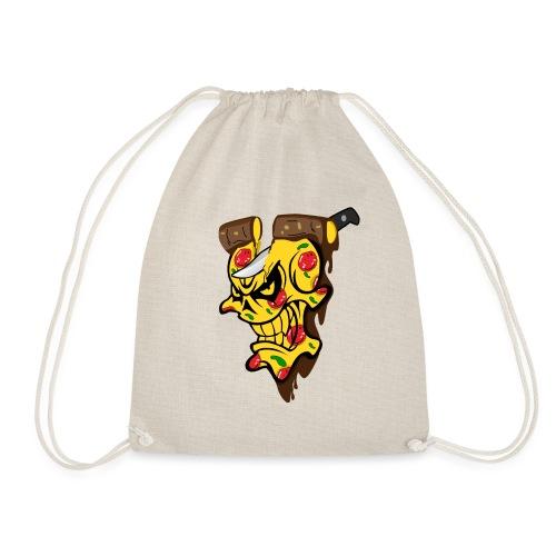 Pizza Schädel mit Messer - Turnbeutel