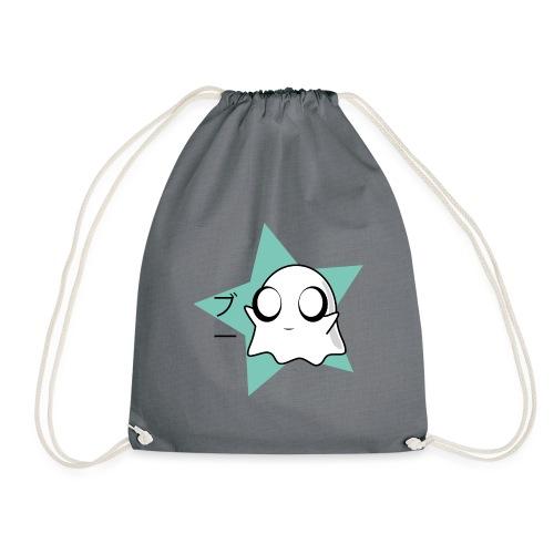 Kawaii Cute Ghost / Boo in Japanese / blue star - Drawstring Bag