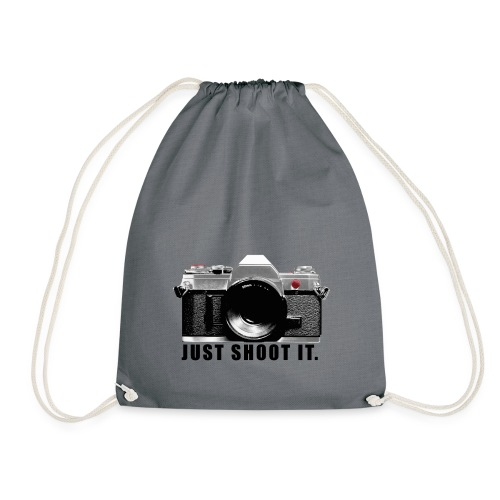 Camera JUST SHOOT IT. Geschenk für Fotograf - Turnbeutel