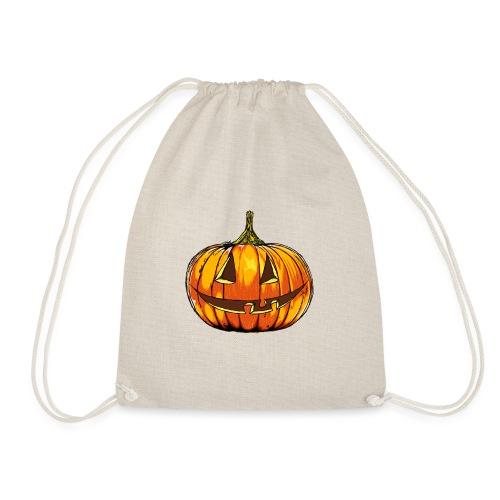 Halloween pumpkin head hand made comics art - Drawstring Bag