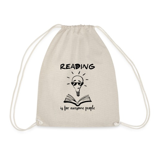 Reading Is For Awesome People - Black - Drawstring Bag