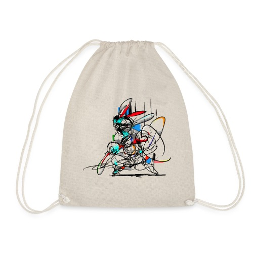 Ninja fighter Easter Bunny / Abstract - Drawstring Bag