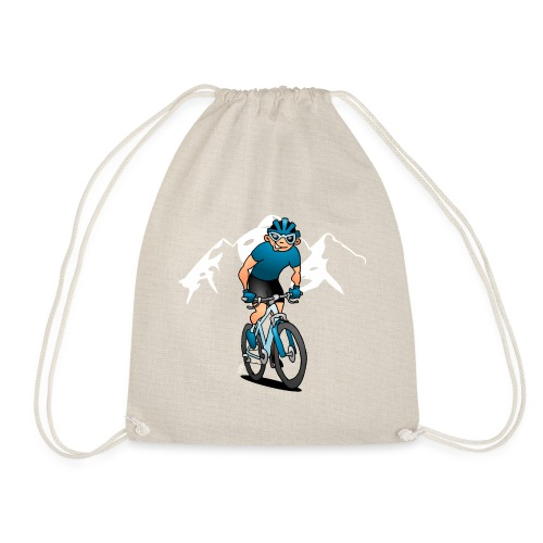 MTB - Mountain biker in the mountains - Drawstring Bag